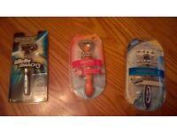 3 x gillette and wilkinson sword shaving razors men and womans