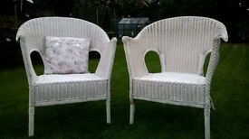 2 x white wicker chairs