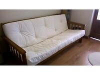 Cream Futon, 3 seater/double bed