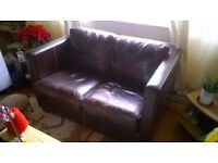 Free Leather Distressed but Charming 2 Seater Sofa