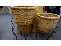Wicker baskets with wrought iron stands