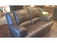 DARK BROWN LEATHER TWO SEATER RECLINER
