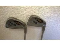 PING i3 1 & 2 IRONS, WHITE DOT, STIFF SHAFTS, R/H.
