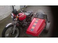 Honda cb400t classic motorbike with sidecar combination