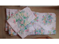 Double fitted style sheet and pair of pillow cases, clean, brushed cotton type material, soft