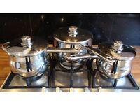 SET OF STELLAR 1000 3 PIECE DEEP STAINLESS STEEL SAUCE PANS