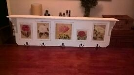John Lewis Shabby Chic Solid Wood Wall Mounted coat hook shelf unit with 5 individual photo frames.