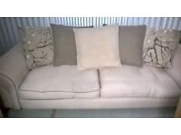 Three seater sofa, 2 chairs and footstall