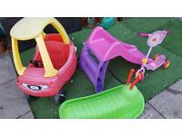 Kids outdoor toys - scooter, slide, car, rocker.