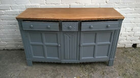 VINTAGE OAK BOW FRONTED PAINTED SIDEBOARD PRIORY STYLE DRAWERS AND CUPBOARDS