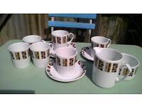 Vintage Alfred Meakin Random Coffee Set Cups Saucers, Milk & Sugar Jug Retro