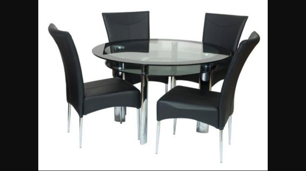 Harvey S Round Black Glass Table In Broughton Astley