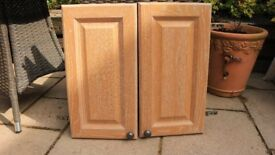 2 x limed oak kitchen cupboard doors