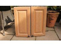 2 x limed oak kitchen cupboard doors