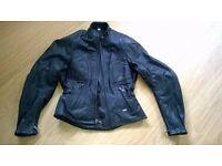 Ladies Black Leather Motorbike Jacket with Armour IXS Sally