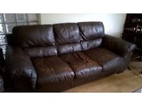 £175.00 THREE SEATER BROWN LEATHER SOFA FOR QUICK SALE IN TOTTENHAM CONTACT ANDY AT 07538267953