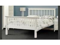 Small double white wooden bed brand new in packaging Rpp £199 + mattress