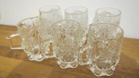 Set of 6 Bohemian Crystal Glasses of tea With Handles