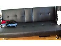 BLACK LEATHER CLIC CLAC BED SETTEE