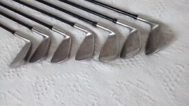 A comprehensive selection of golf clubs.