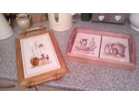 2 X VINTAGE, KITSCH, RETRO, FARMHOUSE WOOD AND TILE TRAYS..REDUCED!!