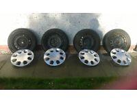Winter Tyres - Hankook 195/50 R15 82T Studless + Steel Wheel Rims - 4 Stud + Wheel Covers