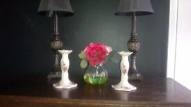 A PAIR OF PRETTY FLOWERY DETAILED VINTAGE / SHABBY CHIC PORCELAIN CANDLE HOLDERS