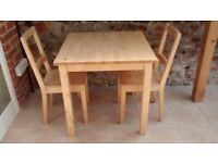 Solid birch table and two chairs