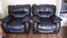 Black Leather Recliner Sofa and 2 Recliner Armchairs