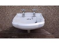 Small Twyfords cloakroom basin / sink & taps