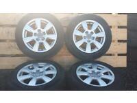 "Set of genuine Audi 16"" alloys & tyres VW SEAT SKODA golf Leon a4 A5 A6"