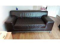 Ikea Kramfors Brown Leather 2 Seater Sofa £50 (RRP £500)