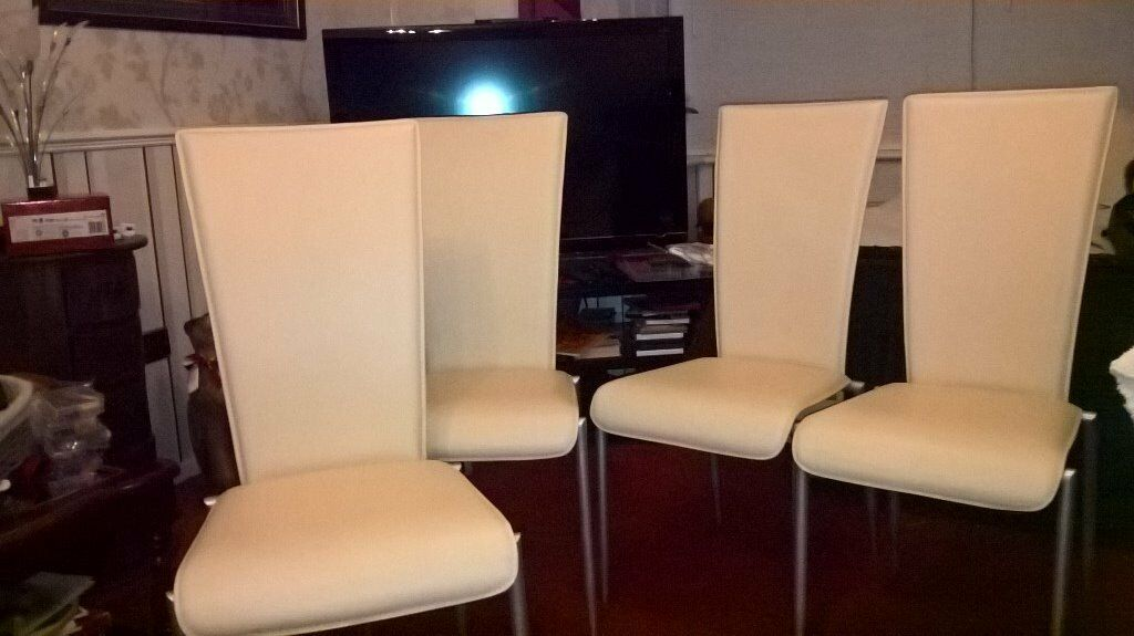 faux leather high back chairs. pair of cream high back faux leather dining chairs by actona