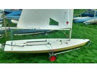 Laser Sailing dinghy sail number 149211 plus trolley.