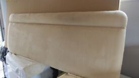 Headboard for double bed. Suede type material in beige. Fire retard, with brackets.Used