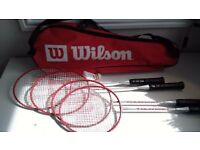 4 x Wilson badminton racquets - used