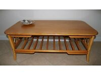COFFEE TABLE WOOD AND WICKER
