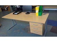 Large Light Oak Rectangular Desk with Drawers