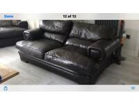 Leather brown sofas ,chair , footstool