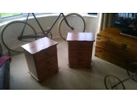 Pair of pine bedside tables with 3 drawers