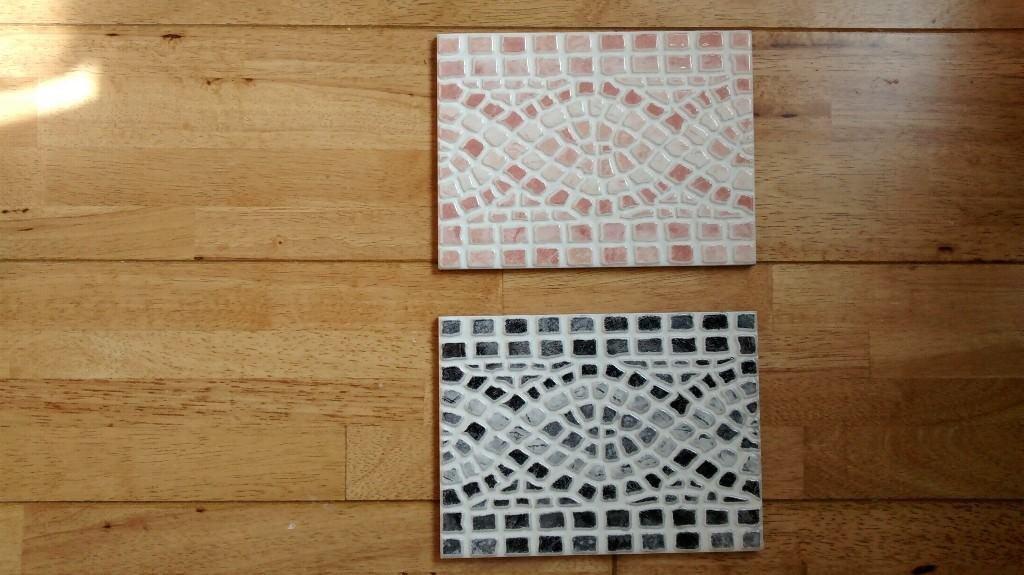 Mosaic Border Tiles - Black, Grey and White. Light Brown and White. 20cm * 15cm.