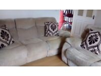Can deliver Harvey's 2+3 seater cream beige recliner sofas good cond