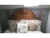 Beautiful carved pine double bed headboard