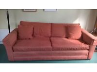 4 seater, orange, extra deep sofa with matching cushions