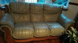 Leather 3 seater sofa light green