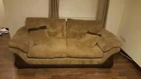 3 piece faux brown fabric sofa set - DFS