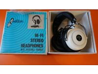 VINTAGE HEADPHONES RETRO WHITE / CHROME MONITORS JAPANESE 1970'S ORIGINAL BOXED