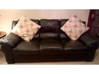 black leather settee 3 seater, a chair and a black leather pouffe set. Excellant condition