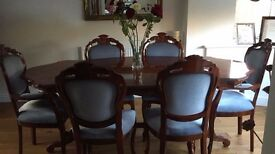 Mahogany Table & Chairs with Matching Display Cabinet