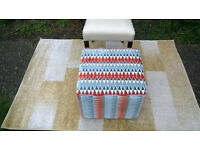 A New Designer Fabric Material Cube Footstool